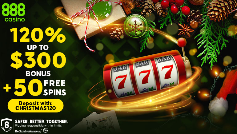 888 Casino Christmas Special for New Players: Get Up to €300 & 50 Free Spins